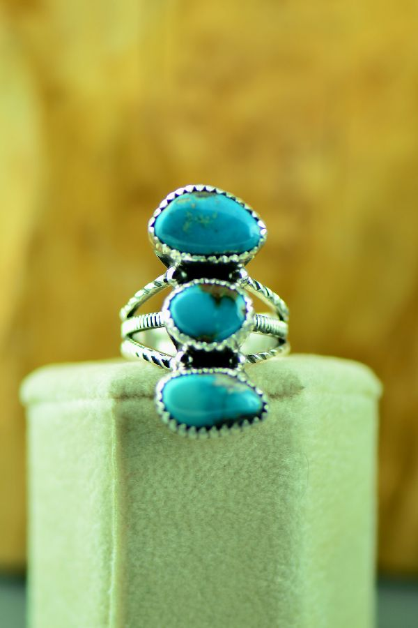 Will Denetdale Morenci Turquoise Ring Size 7