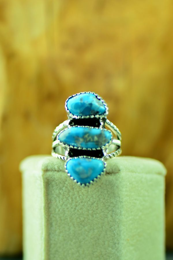 Navajo Three Stone Morenci Turquoise Ring