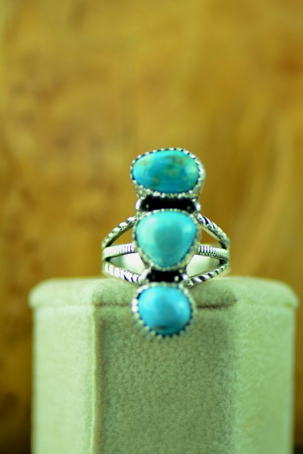 American Indian Three Stone Fox Turquoise Ring