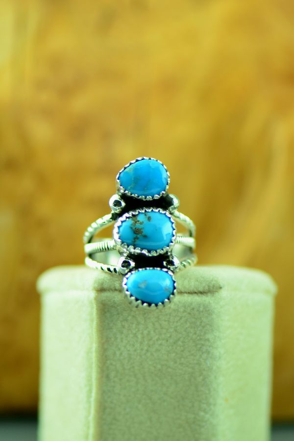 American Indian Three Stone Morenci Turquoise Ring