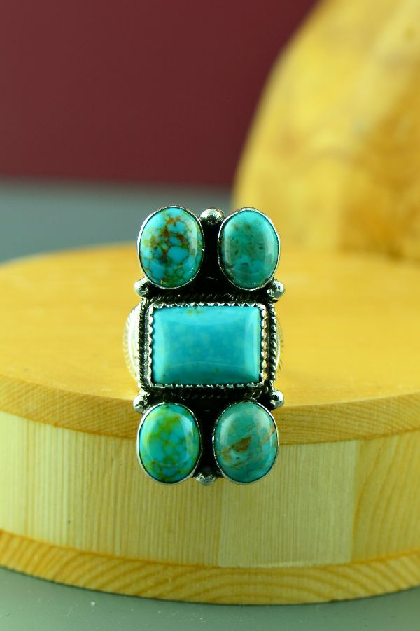 Kingman Turquoise Native American Ring Size 7