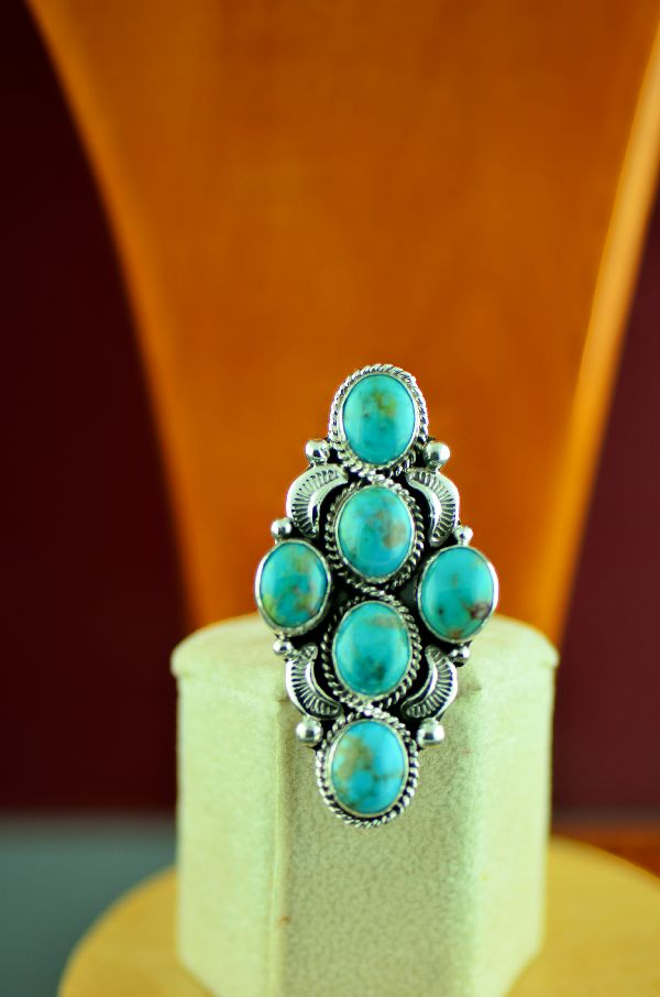 Ladies Cluster Turquoise Ring