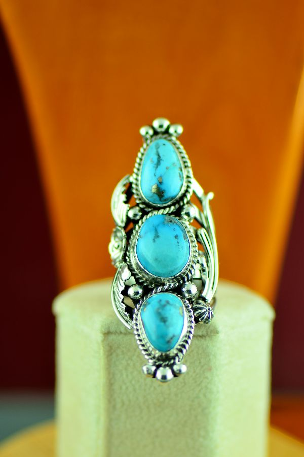 Native American  High Grade Morenci Turquoise Ring