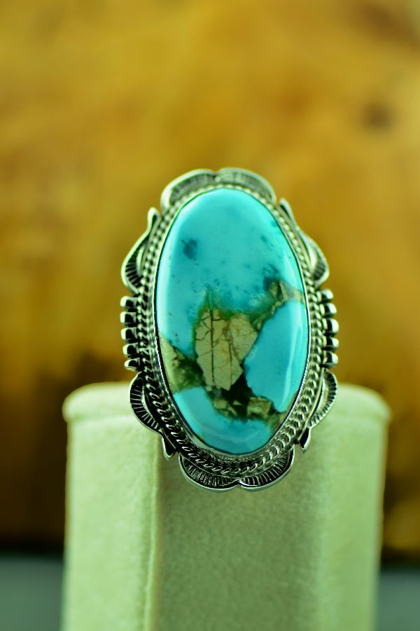 Will Denetdale Fox Turquoise Ring Size 6