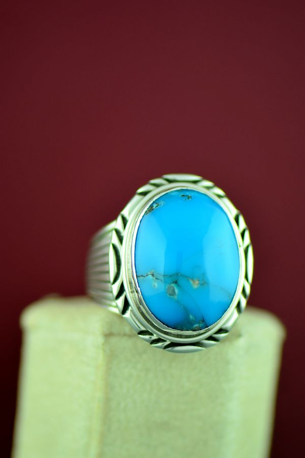 Navajo Blue Gem Turquoise Ring Size 13