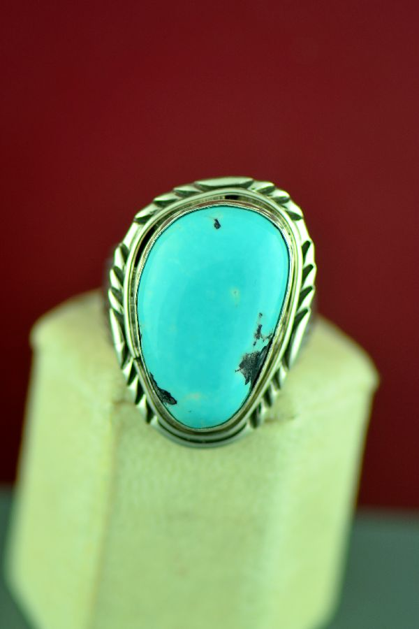 Mans Blue Moon Turquoise Ring