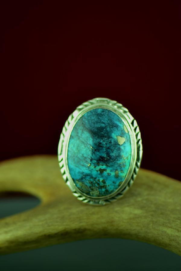 Mans Sterling Silver Royston Turquoise Ring