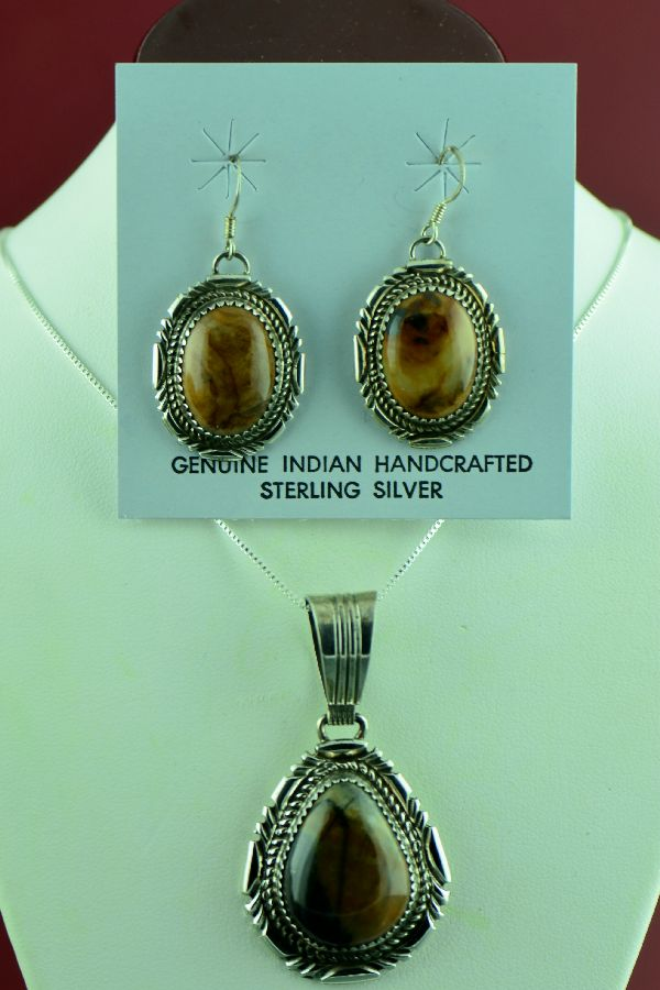 Loren Begay Picasso Marble Pendant and Earrings