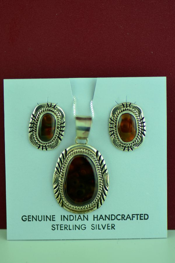 Fire Agate Pendant and Earrings