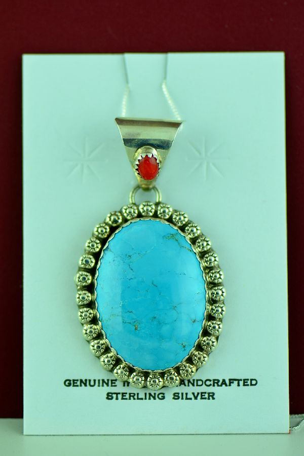 Harry Begay Turquoise and Coral Pendant