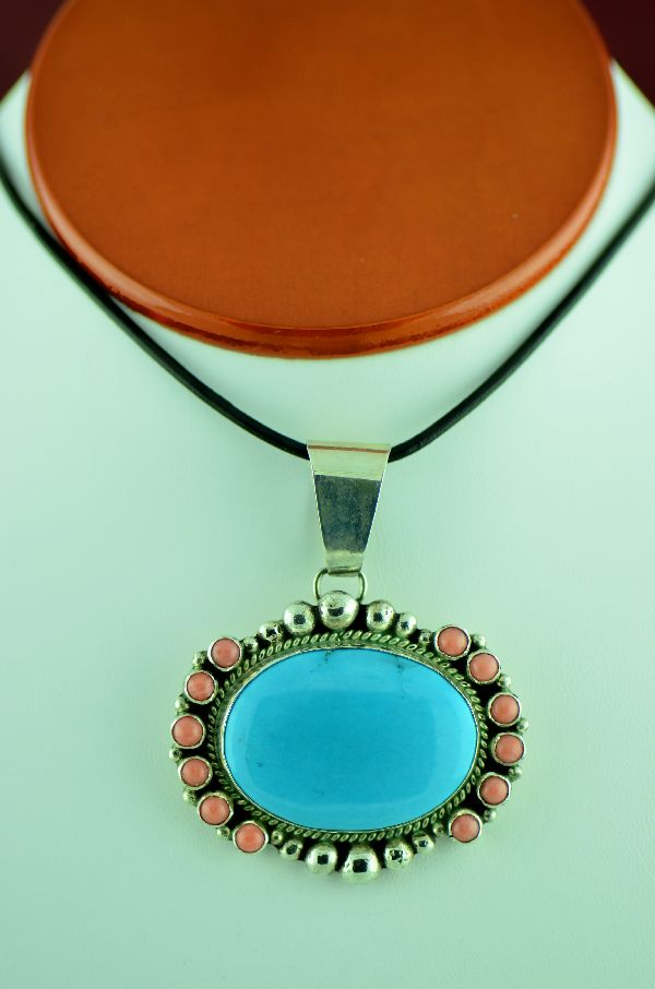 Turquoise and Pink Coral Pendant