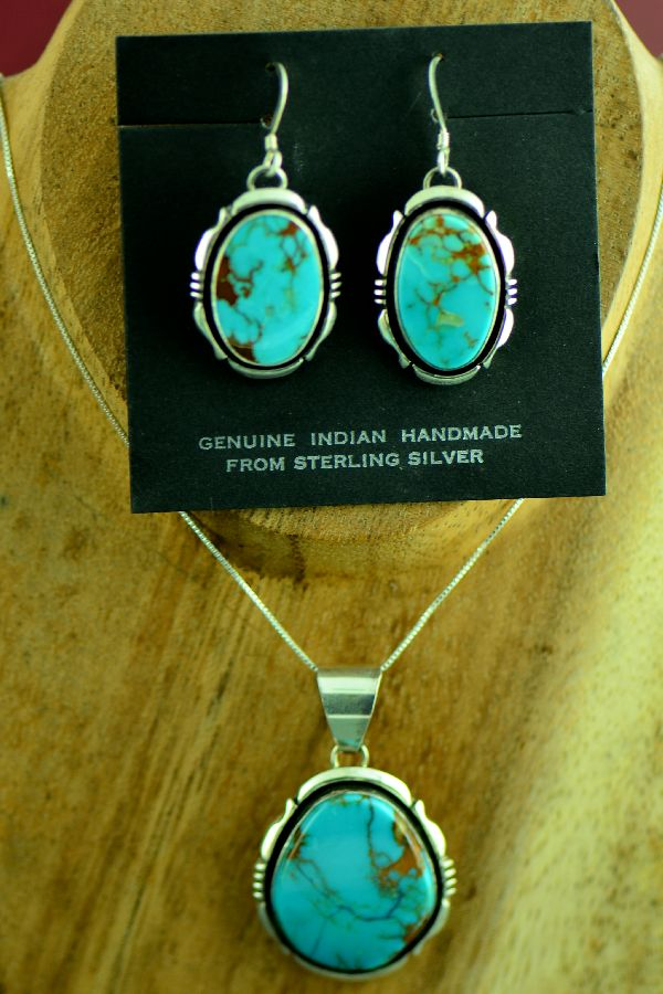 Navajo Royston Turquoise Earrings and Pendant