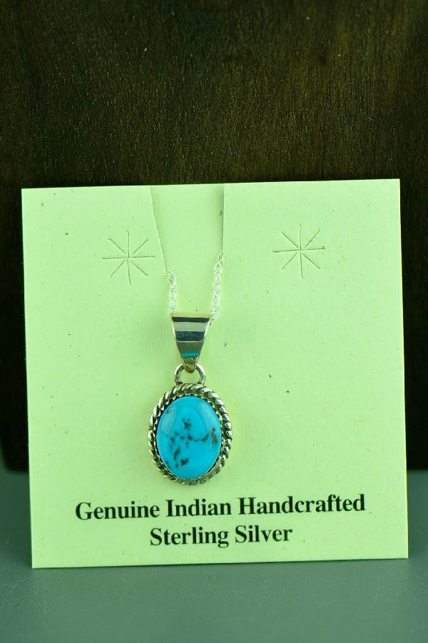 Navajo Sleeping Beauty Turquoise Sterling Silver Pendant