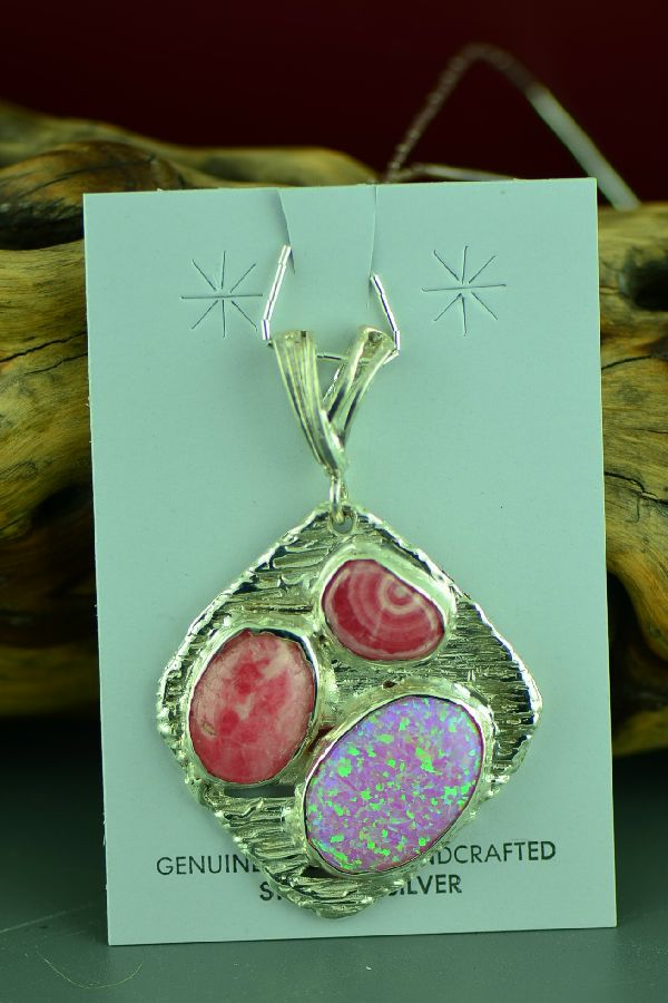 Cherokee Lab Opal and Pink Rhodochrosite Pendant