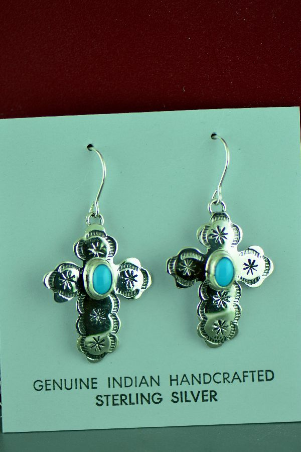 Rita Hemistry Turquoise Cross Earrings