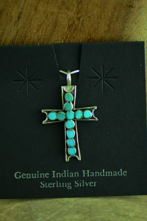Zuni Channel Inlaid Turquoise Cross Pendant