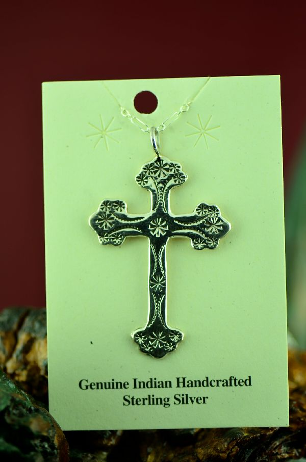 American Indian Hand Stamped Cross Pendant