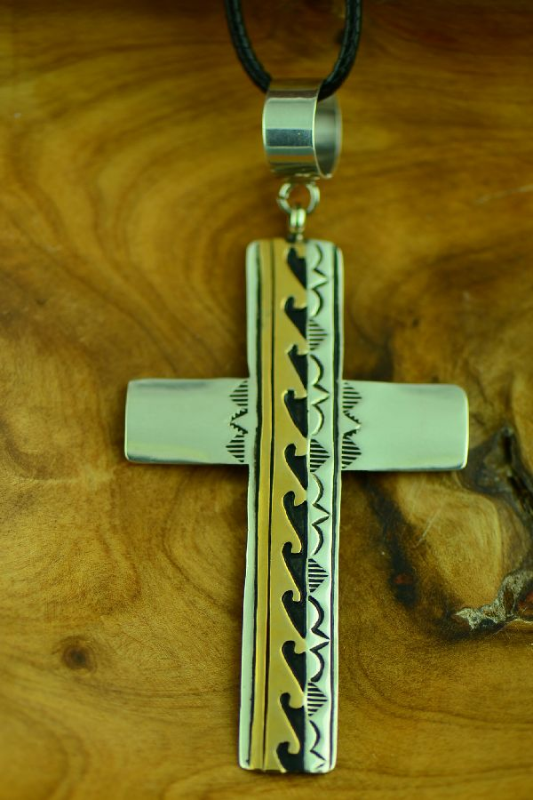 Navajo Sterling Silver and Gold Cross