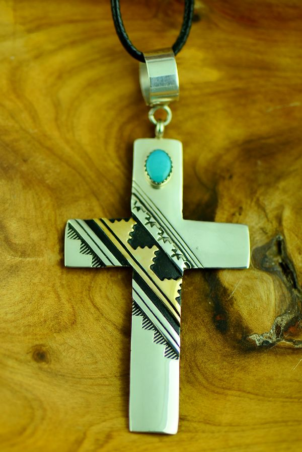 Navajo Gold and Silver Cross Pendant