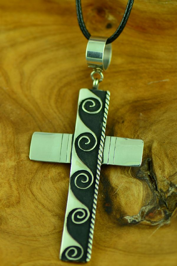 Navajo Sterling Silver Cross with Water Symbol