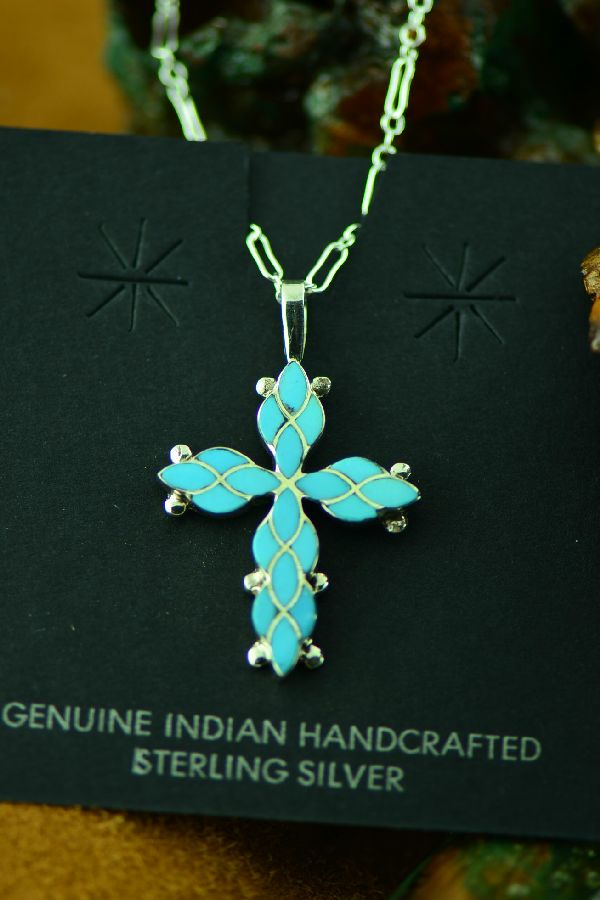 Ferdinand and Sylvia Hooee Turquoise Cross