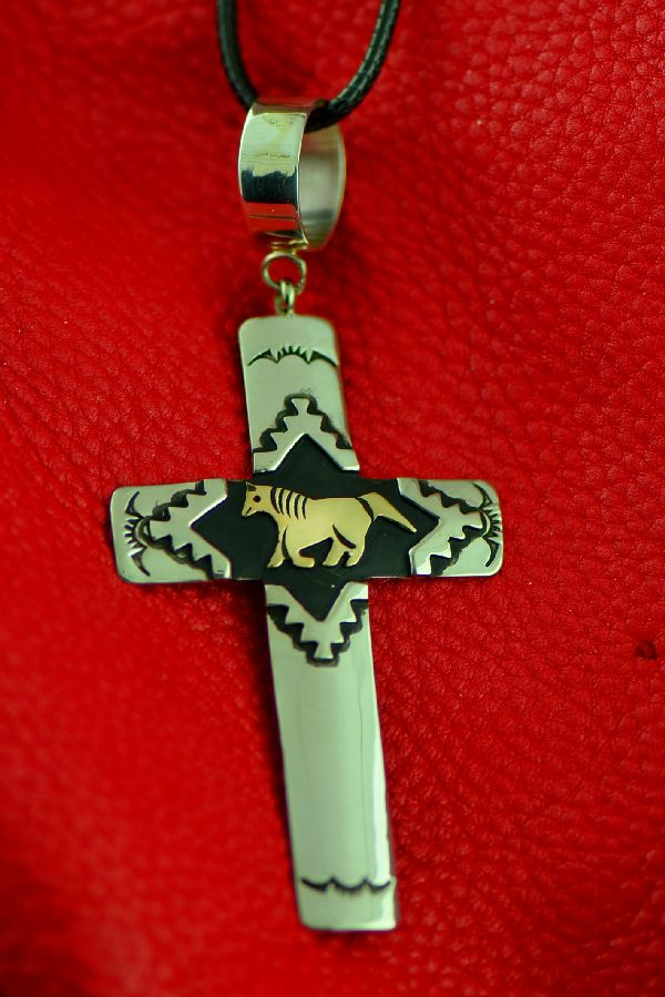 Navajo Rosita Singer Sterling Silver and Gold Horse Cross