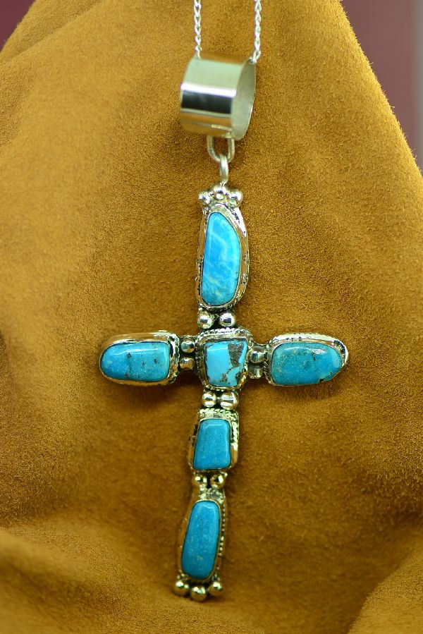 Navajo Large Sleeping Beauty Turquoise Cross