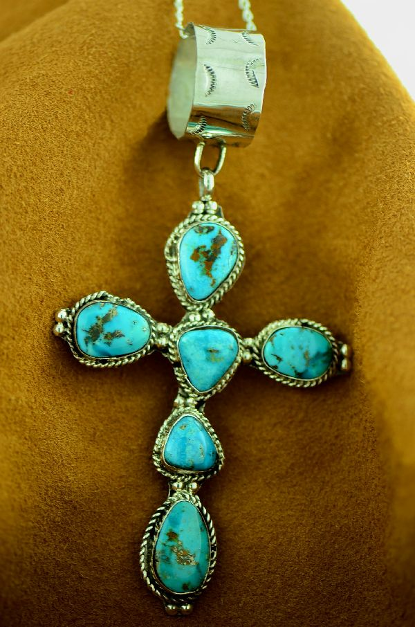 Large Native American Sleeping Beauty Turquoise Cross