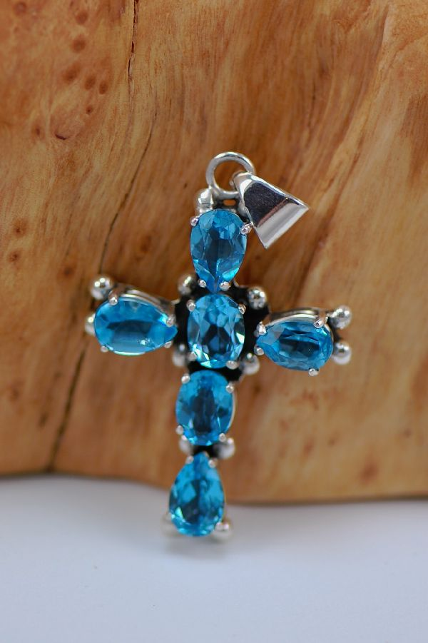 Sterling Silver Blue Topaz Cross