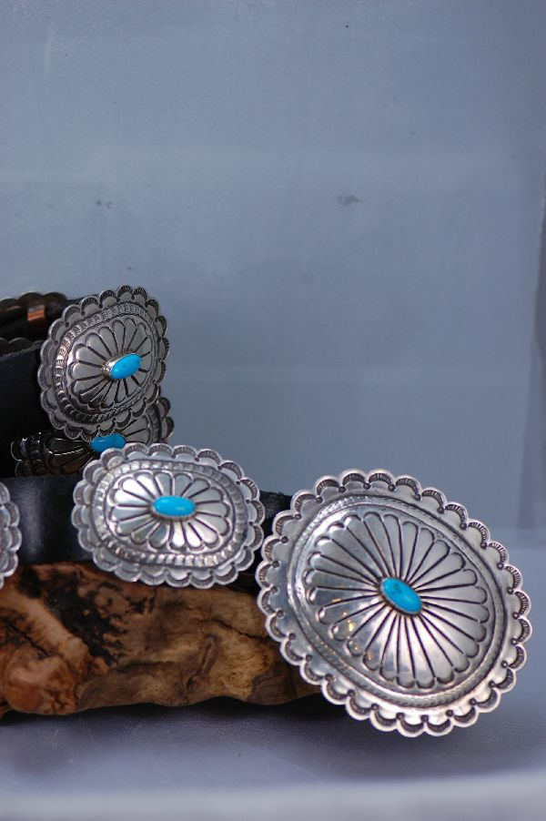 Navajo Sleeping Beauty Turquoise Concho Belt