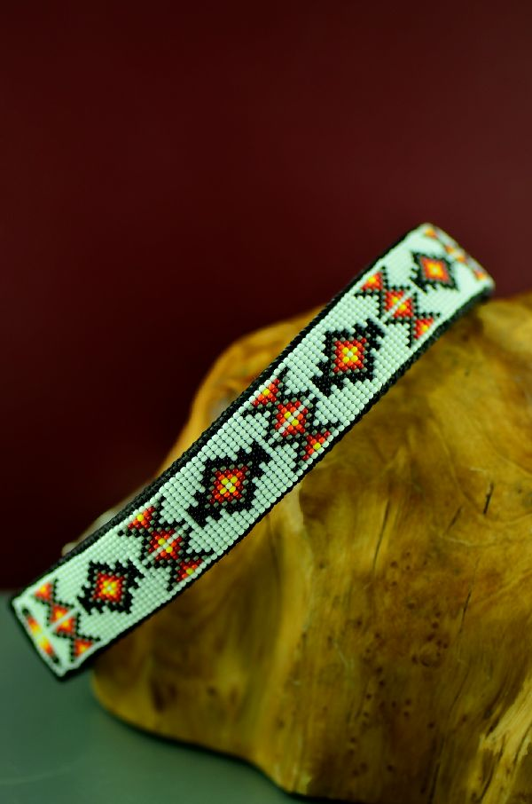 Amber Toledo Beaded Navajo Dog Collar