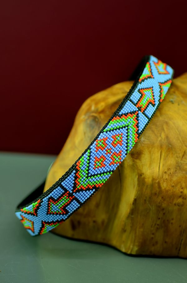 Navajo Traditional Beaded Nylon Dog Collars