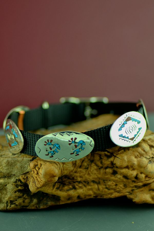 Native American Coral and Turquoise Dog Collar
