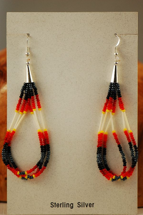 Navajo Beaded Porcupine Quill Earrings