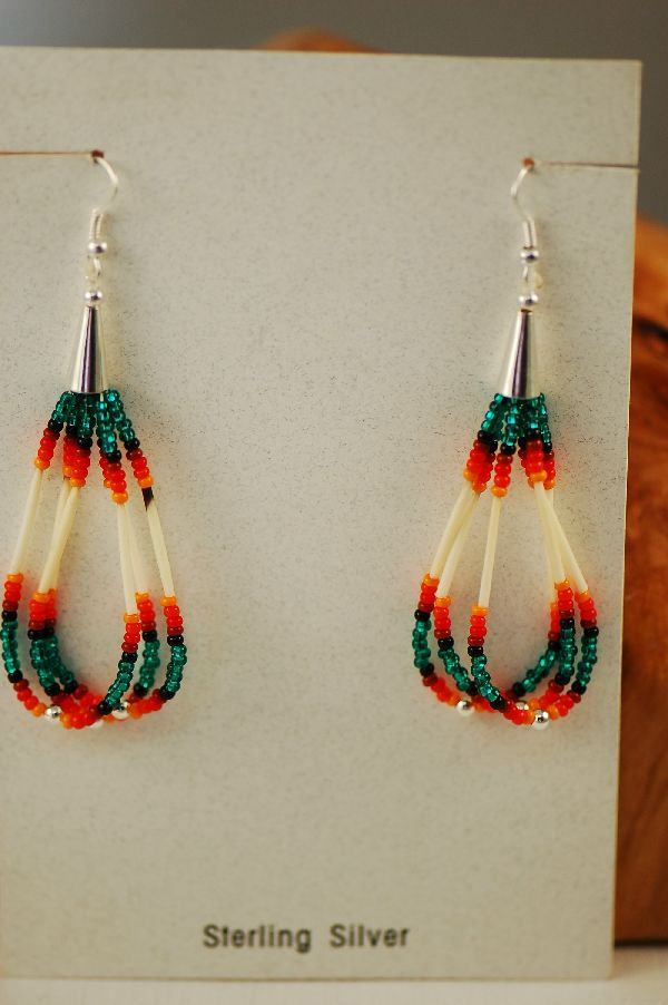 Navajo Beaded Quill Earrings