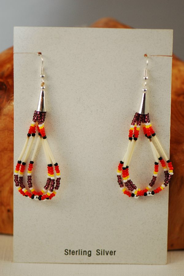 Porcupine Quill Loop Beaded Earrings