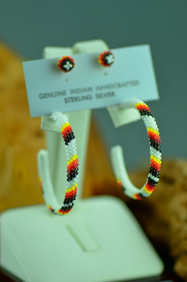 Navajo Seed Bead Hoop Earrings