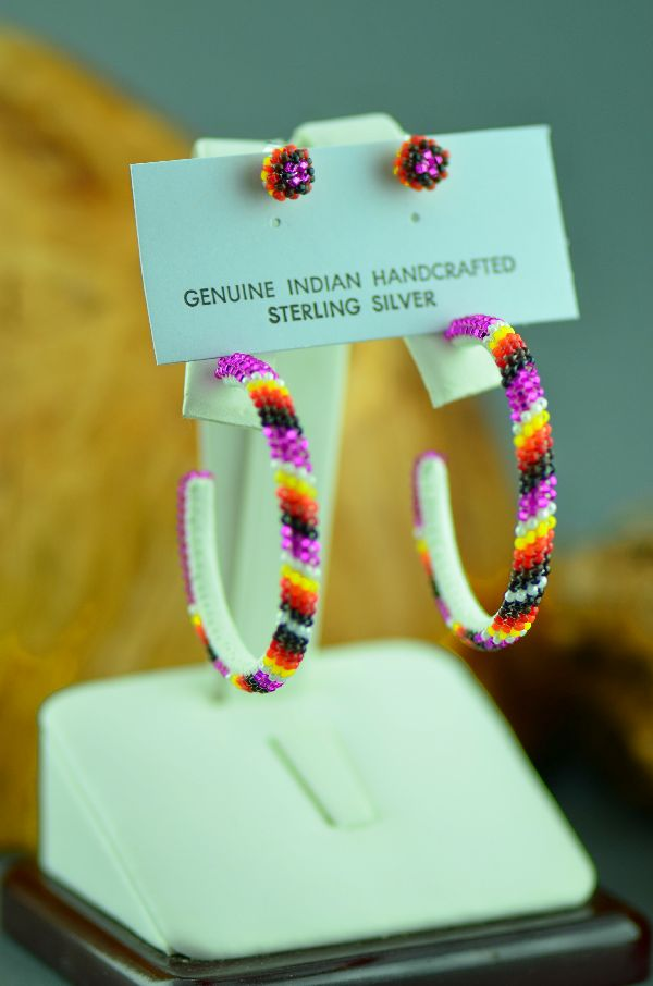 Native American Pink Beaded Earrings