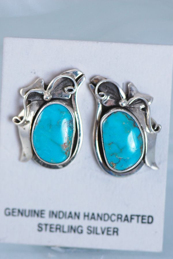 Les Baker Turquoise Sterling Silver Post Earrings
