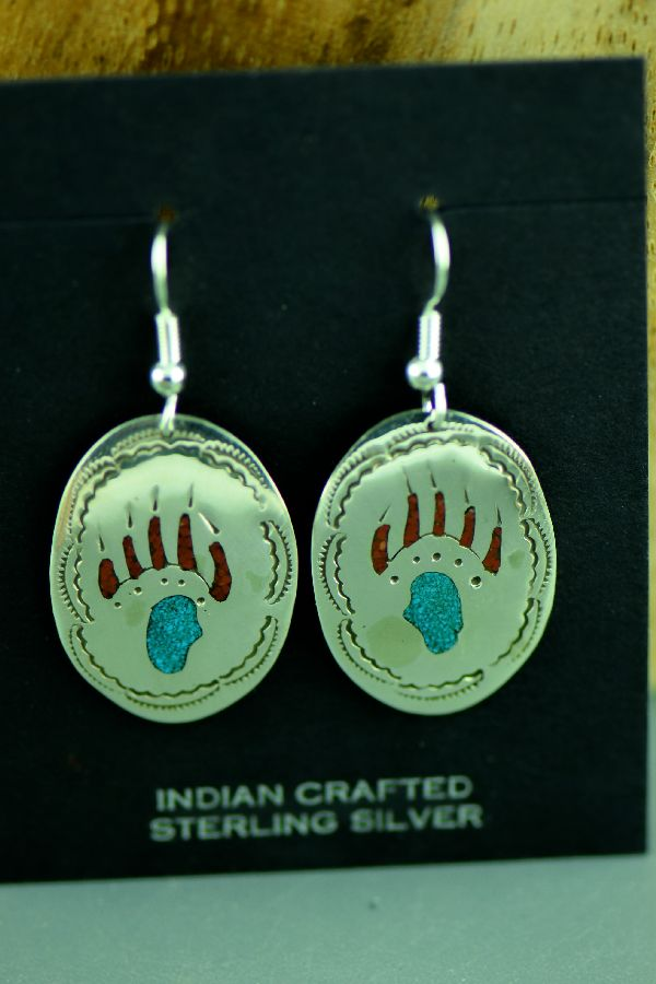 Native American Bear Paw Earrings