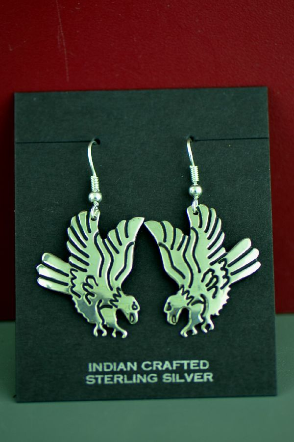 Navajo Sterling Silver Tommy Singer Eagle Earrings