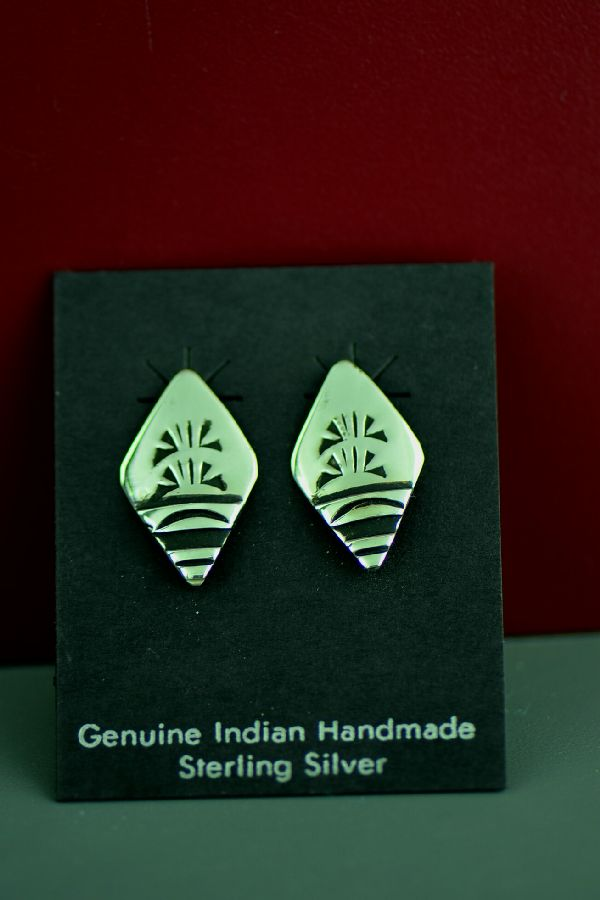Traditional Silver Navajo Earrings
