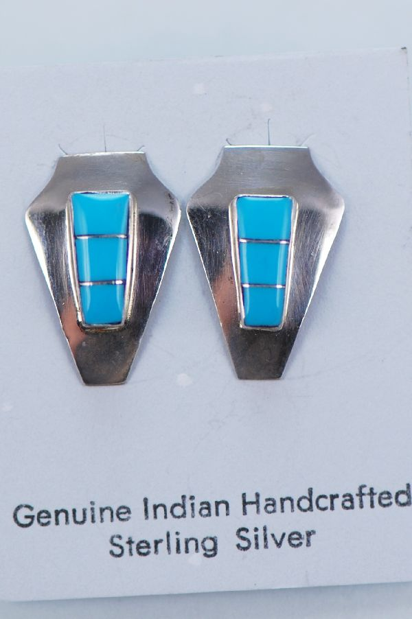 Zuni Sterling Silver Inlaid Turquoise Earrings