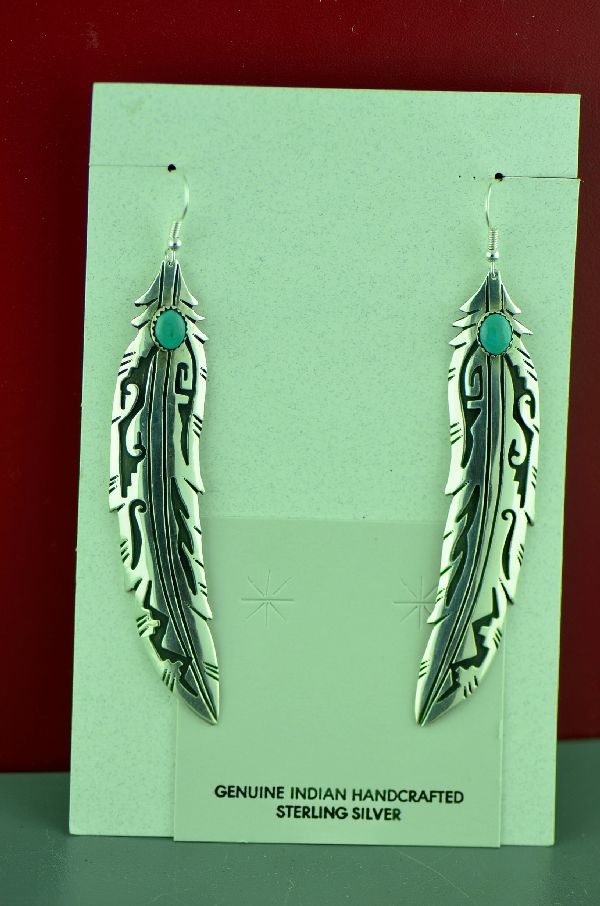 Native American Kingman Turquoise Feather Earrings