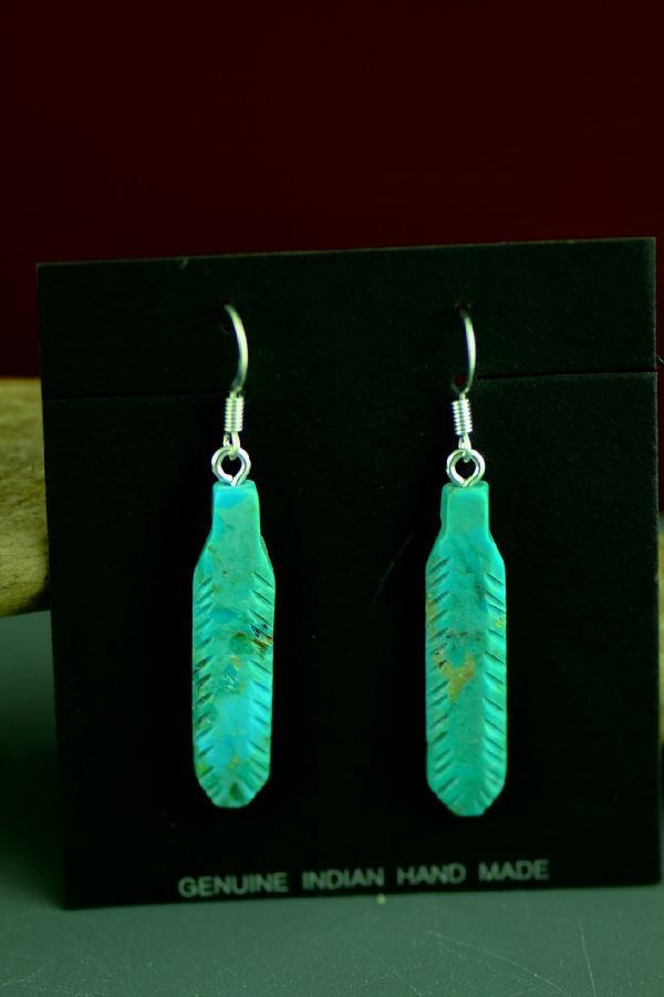 DuWayne Turpen Turquoise Feather Earrings