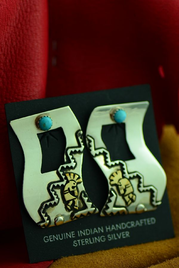 Rosita Singer Gold and Silver Kokopelli Earrings