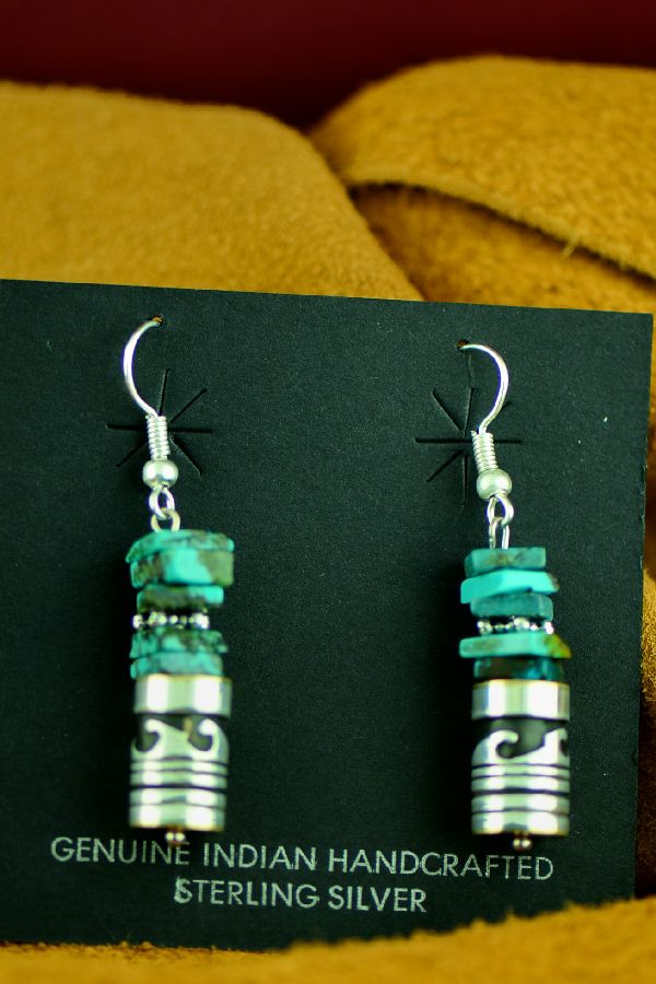 Rosita Singer Kingman Turquoise Water Symbol Earrings