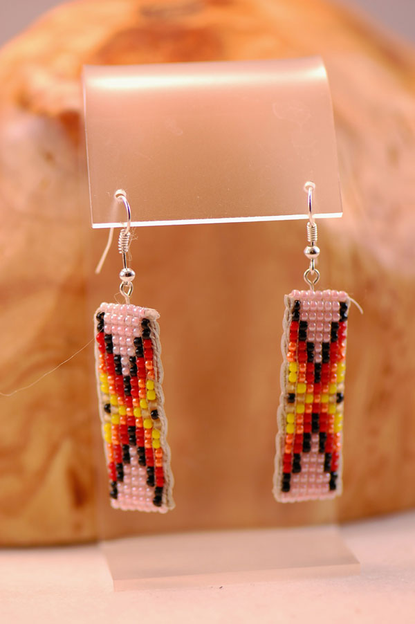 Traditional Multi Colored Seed Bead Earrings by Sylvia Spencer