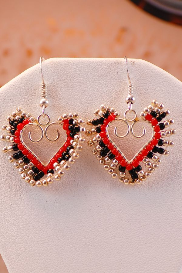 Beaded Heart Earrings Navajo