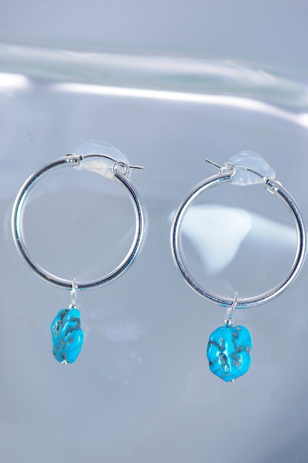 Navajo Sleeping Beauty Turquoise Hoop Earrings